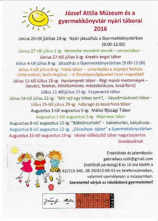 József Attila Múzeum és a gyermekkönyvtár nyári táborai 2016