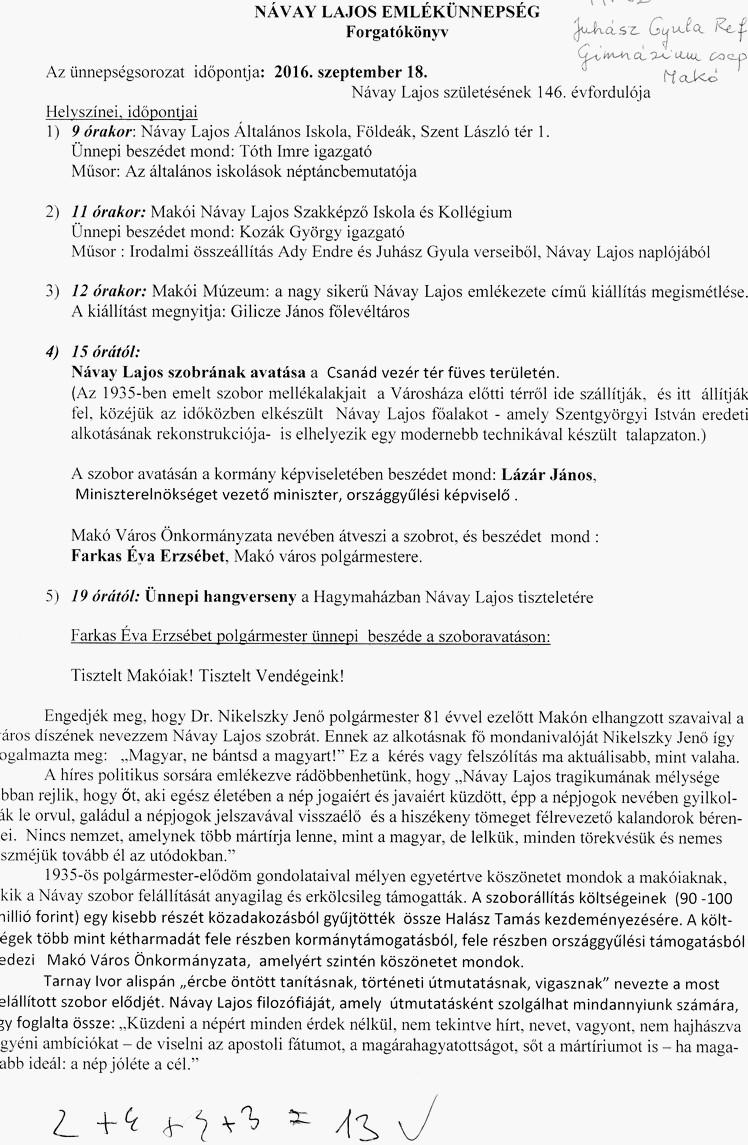 Juhász Gy. Ref. Gimnázium csapatának forgatókönyve